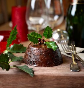 Traditional English Christmas pudding in Devon the south of England